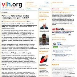 Partners, TDF2 : Deux études encourageantes pour la PrEP