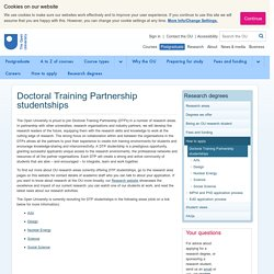 Doctoral Training Partnership studentships - Research Degrees