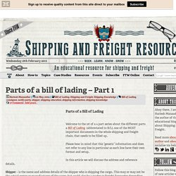 Parts of a Bill of Lading - Part 1 of 4