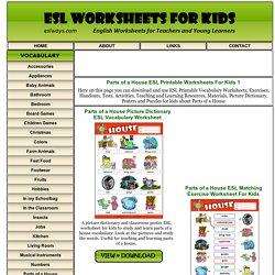 Parts of a House ESL Printable Worksheets For Kids 1
