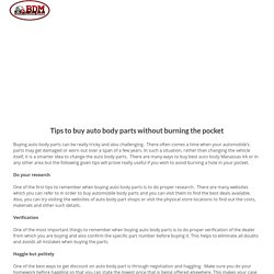 Tips to buy auto body parts without burning the pocket