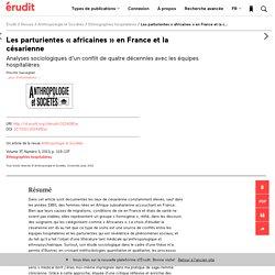 Les parturientes «africaines» en France et la c… – Anthropologie et Sociétés – Érudit