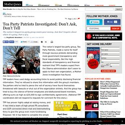 Tea Party Patriots Investigated: Don't Ask, Don't Tell