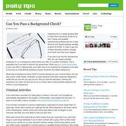 Can You Pass a Background Check?