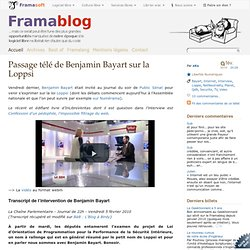 Passage télé de Benjamin Bayart sur la Loppsi