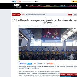 17,6 millions de passagers sont passés par les aéroports marocains en 2015