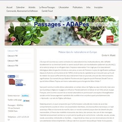 Passages - ADAPes - Editorial n°182