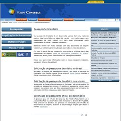 Passaporte brasileiro — Itamaraty MRE - Portal Consular