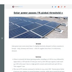 Solar power passes 1% global threshold - Futurism
