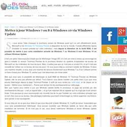 Passez de Windows 7 ou 8 à Windows 10 via Windows Update