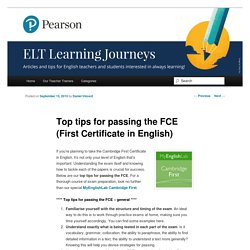 Tips for passing the FCE First Certificate in English