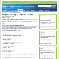 The passive in English – tips and activities