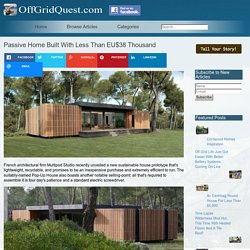 Passive Home Built With Less Than EU$38 Thousand