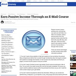 Earn Passive Income Through an E-Mail Course