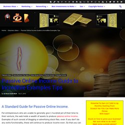 Passive Online Income Guide to Incredible Examples Tips