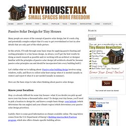 Passive Solar Design for Tiny Houses
