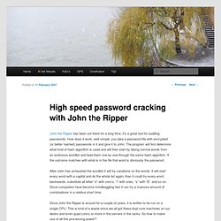 High speed password cracking with John the Ripper