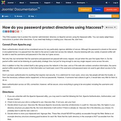 How do you password protect directories using htaccess?