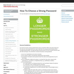 How To Choose a Strong Password » Information Security