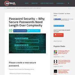 Password Security - Why Secure Passwords Need Length Over Complexity - Crambler