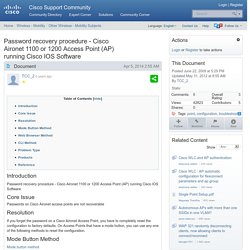 Password recovery procedure - Cisco Aironet 1100 or 1200 Access Point (AP) running Cisco IOS Software