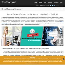 Hotmail Password Recovery Number 1-888-646-0222 For Help