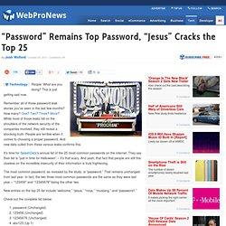 """""""Password"""" Remains Top Password, """"Jesus"""" Cracks the Top 25"""