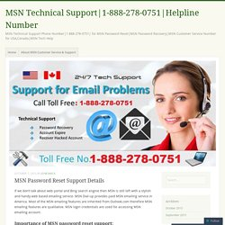 MSN Password Reset Support Details