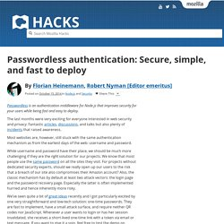 Passwordless authentication: Secure, simple, and fast to deploy