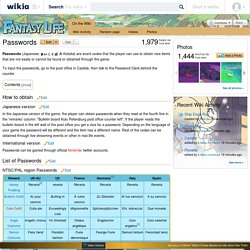 Passwords - Fantasy Life Wiki
