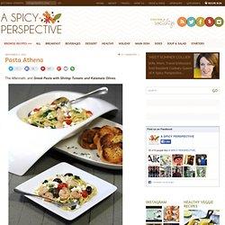 Greek Pasta with Shrimp Tomato and Kalamata Olives