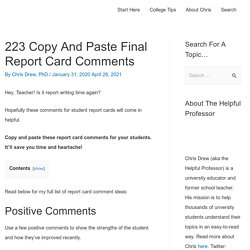 223 Copy and Paste Final Report Card Comments (2021)