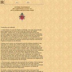 Lettre pastorale aux catholiques d'Irlande, 19 mars 2010, Benoît