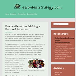 Patches4less.com: Making a Personal Statement