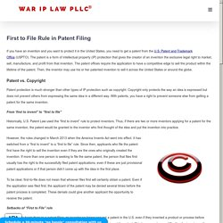 First to File Rule in Patent Filing - Washington DC Patent Lawyer