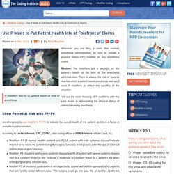 Use P Mods to Put Patent Health Info at Forefront of Claims