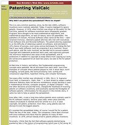 Patenting VisiCalc