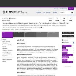 PLOS 14/03/13 Serovar Diversity of Pathogenic Leptospira Circulating in the French West Indies