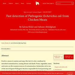 INTECH 12/03/20 Fast detection of Pathogenic Escherichia coli from Chicken Meats