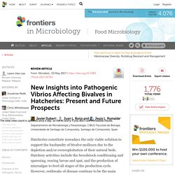 FRONTIERS IN MICROBIOLOGY 03/05/17 New Insights into Pathogenic Vibrios Affecting Bivalves in Hatcheries: Present and Future Prospects