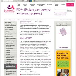 PDA (Pathological demand avoidance syndrome)