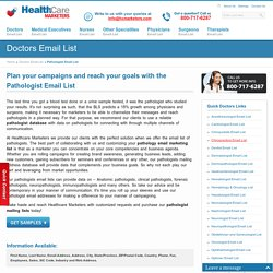 Pathologist Email List, Pathologists Mailing Addresses Database