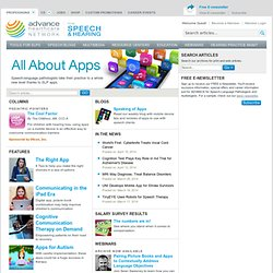 All About Apps on ADVANCE for Speech-Language Pathologists and Audiologists