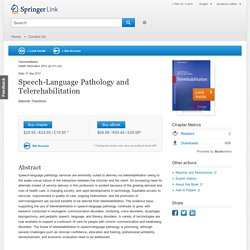 Speech-Language Pathology and Telerehabilitation