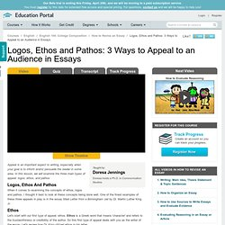 Logos, Ethos and Pathos: 3 Ways to Appeal to an Audience in Essays - Video & Lesson Transcript