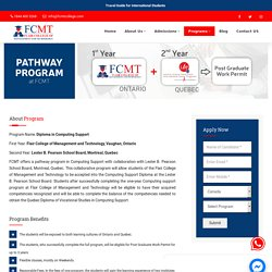 Pathway Program in Computing Support - FCMT