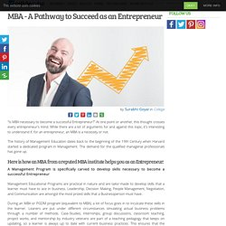 MBA - A Pathway to Succeed as an Entrepreneur