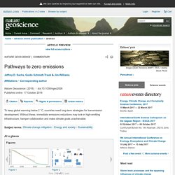 Pathways to zero emissions : Nature Geoscience