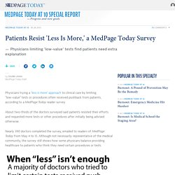 Patients Resist 'Less Is More,' a MedPage Today Survey