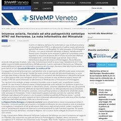 SIVEMP 03/05/16 Aviaria, focolaio ad alta patogenicità sottotipo H7N7 nel Ferrarese. La nota informativa del Minsalute